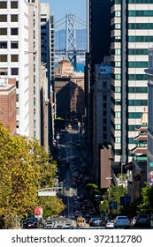 SAN FRANCISCO, CALIFORNIA - SEPTEMBER 17: View of the California Street in direction Downtown in San Francisco on September 17, 2015. This view provides a look to the Bay Bridge and the cable cars.