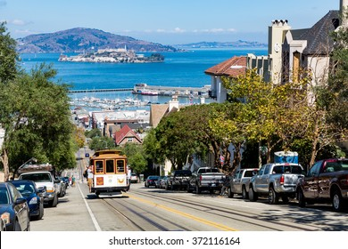 SAN FRANCISCO, CALIFORNIA - SEPTEMBER 17: View of the Hyde Street in direction North in San Francisco on September 17, 2015. This view provides a nice view to the streets of San Francisco.