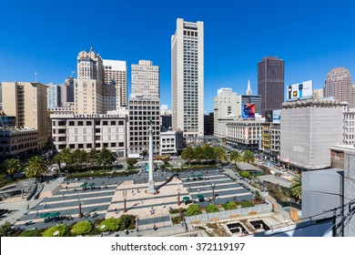 SAN FRANCISCO, CALIFORNIA - SEPTEMBER 17: View of the Union Square in direction north in San Francisco on September 17, 2015. This view provides a nice look to the San Francisco downtown center area.