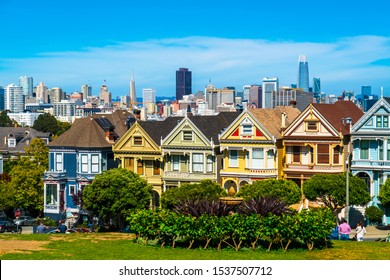 San Francisco California skyline cityscape of architecture and historic landmarks , the painted ladies row houses of San Fran Bay Area attraction