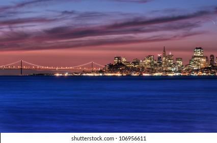 San Francisco, California skyline overlooking the San Francisco Bay at sunrise.
