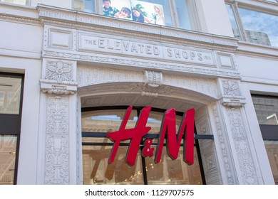 San Francisco, California, United States - July 7, 2018: The H&M sign of Swedish clothing-retail company on the historic structure at 150 Powell street known as the Elevated Shops.