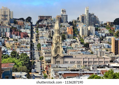 San Francisco, California, United States - city skyline with Telegraph Hill and Russian Hill.