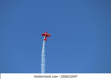 San Francisco, California / United states of America - October 6 2018: Stunt pilot fly's to the sky during San Francisco Fleet week 2018
