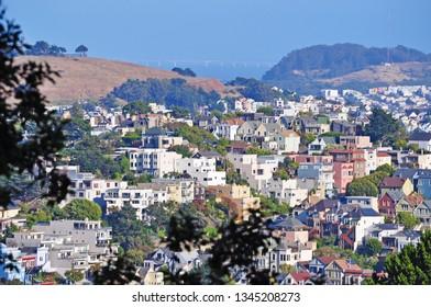 San Francisco, California, United States of America, Usa, 06/13/2010: skyline and aerial view of the Buena Vista neighborhood surrounding Buena Vista Park, south of the Haight-Ashbury neighborhood