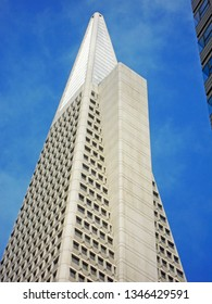 San Francisco, California, United States of America, Usa, June 6, 2010: view from below of the Transamerica Pyramid, a 48-story futurist building and the second-tallest skyscraper of the city