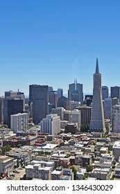 San Francisco, California, United States of America, Usa, June 6, 2010: aerial view of the skyline with Transamerica Pyramid, a 48-story futurist building and the second-tallest skyscraper of the city