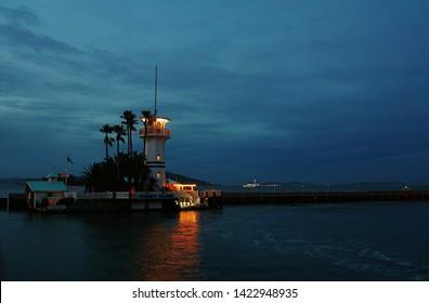 San Francisco, California, United States November 6 2016: Forbes Island Restaurant in the San Francisco Bay at dusk