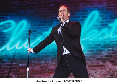 San Francisco, California / United States - June 21 2019 - Comedian Jerry Seinfeld performs at Clusterfest