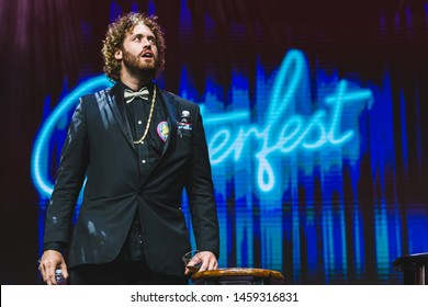 San Francisco, California / United States - June 21 2019 - Comedian T.J. Miller performs at Clusterfest