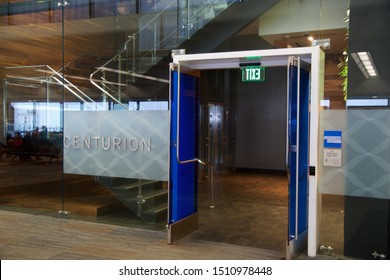 SAN FRANCISCO, CALIFORNIA, UNITED STATES - NOV 27th, 2018: Entrance of the American Express Centurion Lounge at the San Francisco Airport SFO