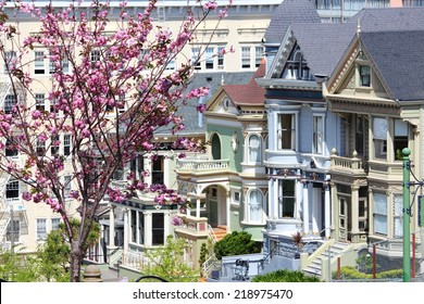 San Francisco, California, United States - city view with famous Painted Ladies, Victorian homes at Alamo Square (Western Addition neighborhood).