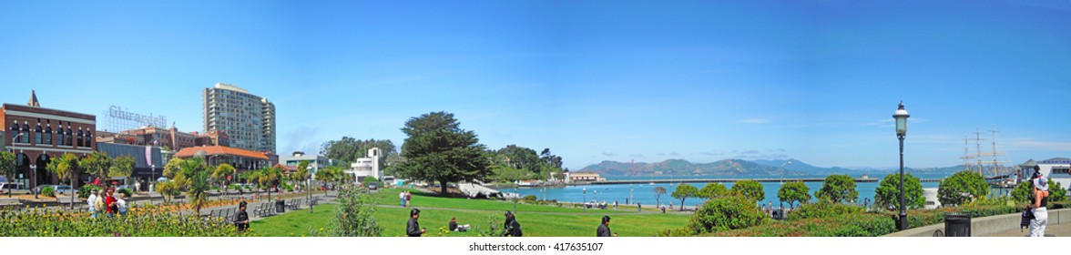 San Francisco, California, United States of America, Usa, 9 June 2010: panoramic view of Fort Mason Park and the Ghirardelli Ice Cream and Chocolate Shop at the popular Fisherman's Wharf