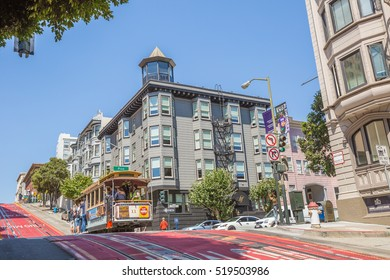 San Francisco, California, United States - August 17, 2016: Cable Car, Powell-Hyde lines, of San Francisco full of tourists along the famous Powell Street, the most famous and tourist tram line.