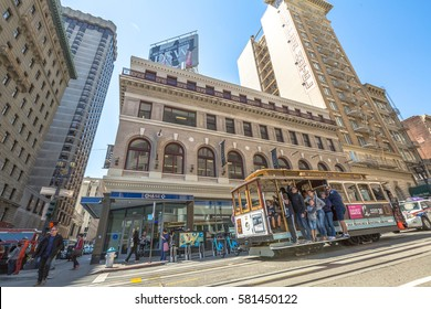 San Francisco, California, United States - August 17, 2016: The Cable Car, Powell-Hyde lines, of San Francisco full of tourists along the famous Powell Street near Union Square.