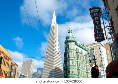 San Francisco, California, USA - 20th May 2015 : View on the famous Transamerica Pyramid building and the Columbus Tower in San Francisco, USA