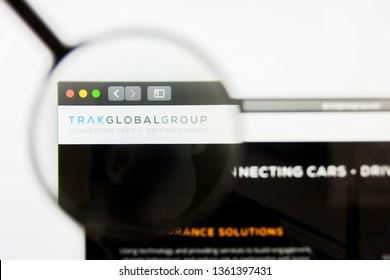 San Francisco, California, USA - 29 March 2019: Illustrative Editorial of Trak Global Group website homepage. Trak Global Group logo visible on display screen.