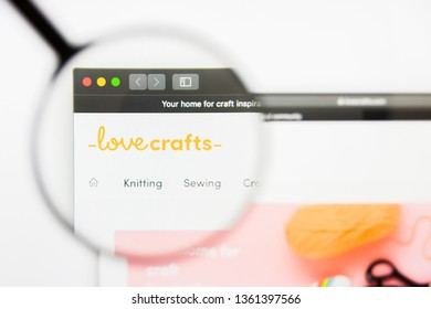 San Francisco, California, USA - 29 March 2019: Illustrative Editorial of LoveCrafts website homepage. LoveCrafts logo visible on display screen.