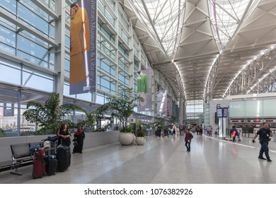 San Francisco, California, USA - April 02, 2018: Exterior view of San Francisco International Airport. SFO is one of the busiest airports in US.