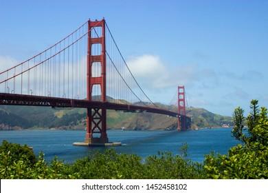 San Francisco, California / USA April 30: A 3/4 image of the Golden Gate Bridge on a sunny day in San Francisco.