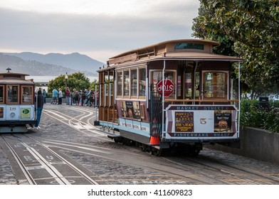 San Francisco, California, USA - APRIL 24, 2016:  Cable car at Hyde street, documentary editorial.