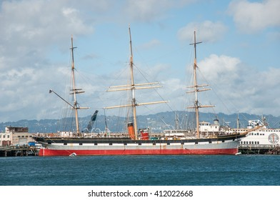 San Francisco, California, USA - APRIL 25, 2016:  1886 square-rigger Balclutha - sailing boat museum, documentary editorial.