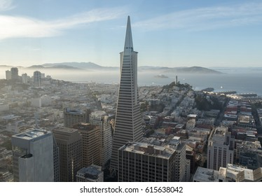 San Francisco, California, U.S.A - April 2, 2017: Financial District and San Francisco Bay Aerial view from the top of Loews Regency hotel in the late afternoon.