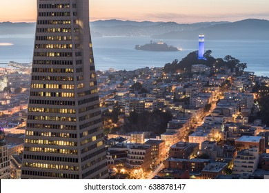 San Francisco, California, USA - April 29, 2017: San Francisco Landmarks from the top of Loews Regency hotel at dusk.