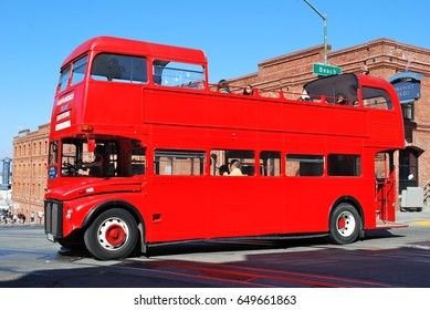 SAN FRANCISCO, CALIFORNIA, USA - APRIL 10: Heritage London bus converted to open-top operating a tourist service in San Francisco on April 10, 2015 in San Francisco, USA.