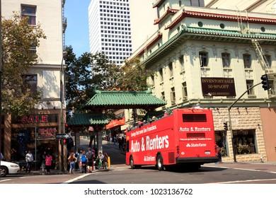 San Francisco, California / USA - August 25, 2015: Gate to Chinatown neighborhood, San Francisco, California, USA