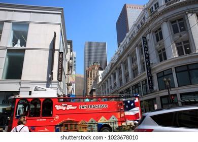 San Francisco, California / USA - August 25, 2015: A tourist bus in San Francisco city, San Francisco, California, USA