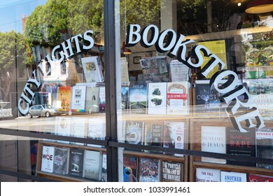 San Francisco, California, USA - August 22, 2013: window of City Lights Bookstore from outside. It's an independent bookstore-publisher and an official historic landmark.