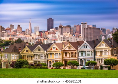 San Francisco, California, USA cityscape at Alamo Square.