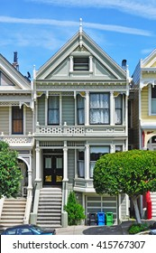 San Francisco, California, Usa: close up of one of the Painted Ladies on 6 June 2010. The Painted Ladies are a row of colorful Victorian houses at 710-720 Steiner Street across from Alamo Square park