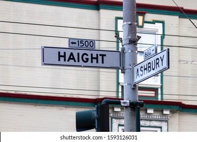 San Francisco, California, USA December 10th 2019 The Corner of Haight-Ashbury Where the Hippie Counterculture Began