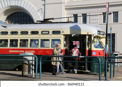San Francisco, California, USA - December 23, 2015: The PCC streetcar has proved to be a long-lasting icon of streetcar design and are still in service in many places around the world.