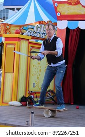 San Francisco, California, USA - December 23, 2015: Acrobat shows street performance at Pier 39 in San Francisco, California.