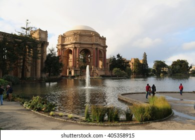 San Francisco, California, USA - December 24, 2015: The Palace of Fine Arts, a popular tourist's attraction, is a monumental structure originally constructed for the 1915 Panama-Pacific Exposition.