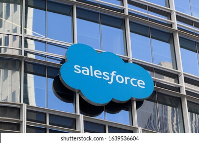 San Francisco, California, USA - Feb 8, 2020: The Salesforce logo on the Salesforce Tower in the SoMa district of downtown San Francisco.