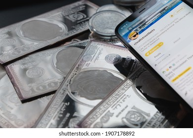 San Francisco, California, USA - February 1, 2021: Silver price surge due to Reddit wallstreetbets subreddit and internet stock traders