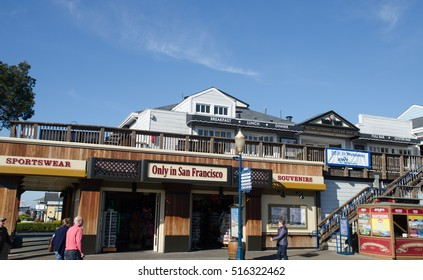 SAN FRANCISCO, CALIFORNIA, USA - JANUARY 21, 2015: Pier 39 is a popular tourist place for shopping