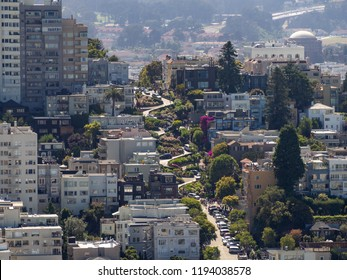 San Francisco, California, USA - July 2018: Lombard Street, steep hill, hairpin turns