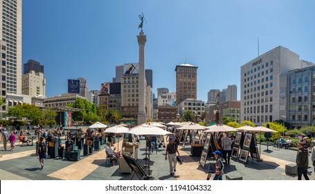 San Francisco, California, USA - July 2018: Union Square Market,  Downtown