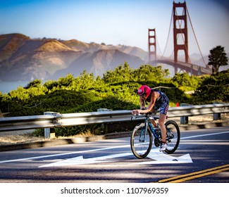 San Francisco, California, USA - June 3, 2018: Sarah Haskins races to victory in the 2018 Escape From Alcatraz Triathlon.