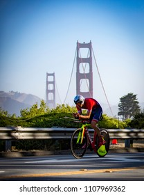 San Francisco, California, USA - June 3, 2018: Ben Kanute leads the bike en route to winning the 2018 Escape From Alcatraz Triathlon.