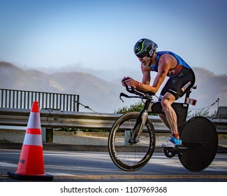 San Francisco, California, USA - June 3, 2018: Cameron Dye races to a second place finish at the 2018 Escape From Alcatraz Triathlon.