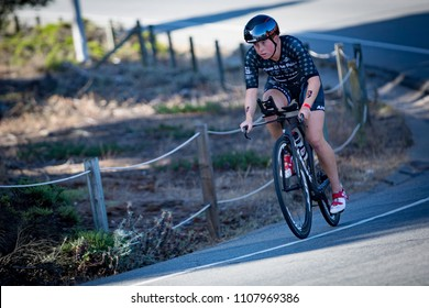 San Francisco, California, USA - June 3, 2018: Paula Findlay races to fourth place in the 2018 Escape From Alcatraz Triathlon.
