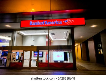 SAN FRANCISCO, CALIFORNIA / USA - June 11, 2019: The logo of Bank of America in modern office building in San Francisco. An American multinational investment bank and financial services company.