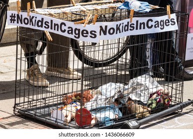 San Francisco, California, USA, June 27, 2019 protest at 9th Circuit Court denouncing Trump denying migrant children health items in detainment camps, names of dead children read