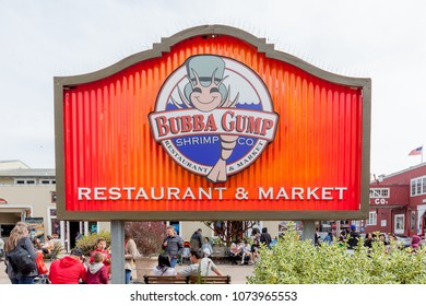 San Francisco, California, USA - March 31, 2018: Sign of Bubba Gump at Cannery Row in San Francisco. Bubba Gump Restaurant and Market is an American seafood restaurant chain.